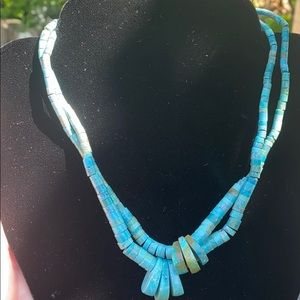 Jewelry - Vintage turquoise heishi double strand necklace